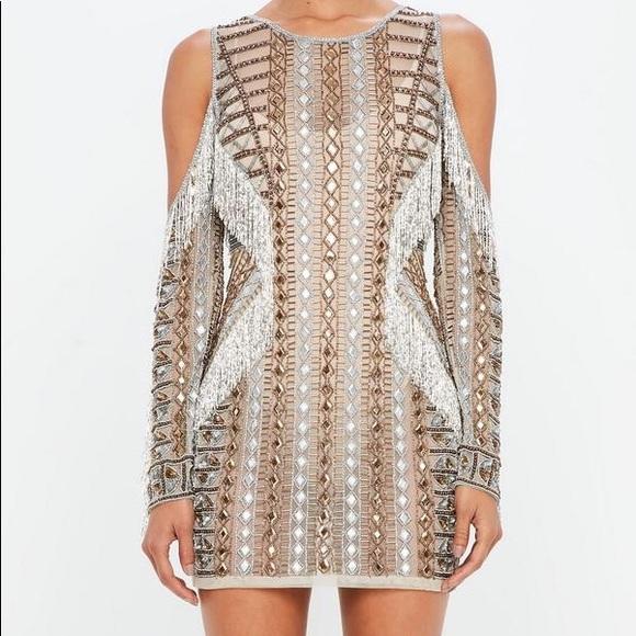 1b782362374 Peace+love missguided beaded cold shoulder dress. M 5b0d6084c9fcdf27273a8546